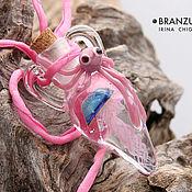 Украшения handmade. Livemaster - original item Jellyfish and pink octopus - bottle pendant lampwork glass cork. Handmade.
