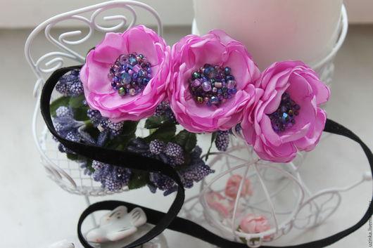 """Детская бижутерия ручной работы. Ярмарка Мастеров - ручная работа. Купить Повязочка для волос """"Пурпурные цветочки"""". Handmade. Розовый"""