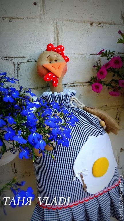 Кухня ручной работы. Ярмарка Мастеров - ручная работа. Купить Пакетница ГЛАЗУНЬЯ. Handmade. Курица, кукла пакетница, флок