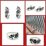 Украшения handmade. Livemaster - original item Flower earrings and ring. Floral set. Silver with black.. Handmade.