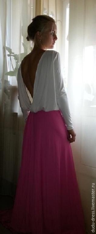 Платье в пол двухцветное