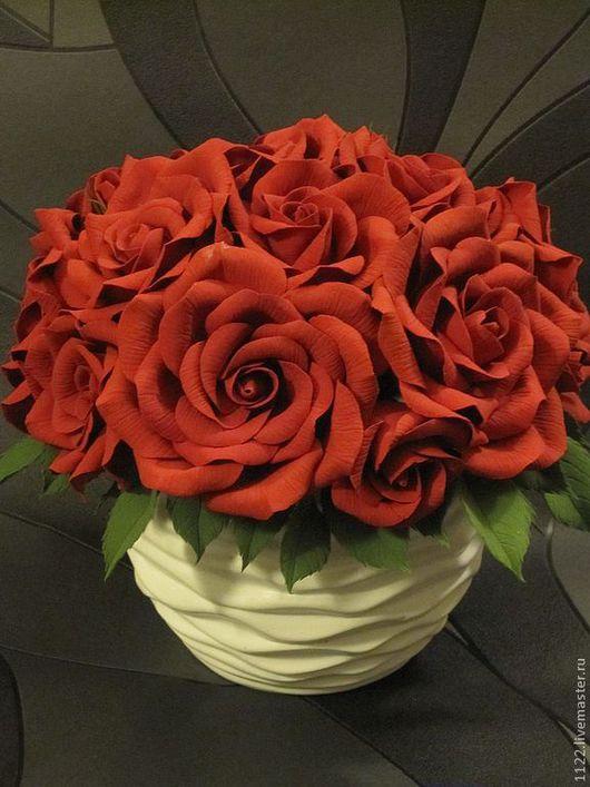 Интерьерные композиции ручной работы. Ярмарка Мастеров - ручная работа. Купить Красные розы. Handmade. Ярко-красный, интерьерная композиция
