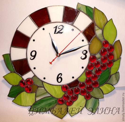 """Часы для дома ручной работы. Ярмарка Мастеров - ручная работа. Купить Витражные часы """"Виноград"""". Handmade. Виноград, часы настенные"""