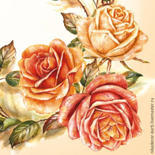 Нарисованные Розы (SLOG022001) - салфетка для декупажа, , Москва, Фото №1