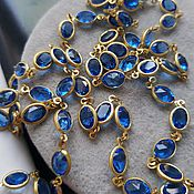 Винтаж handmade. Livemaster - original item Necklace, bezel set with blue crystals. Handmade.