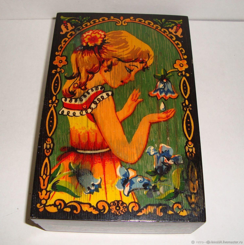 Vintage jewelry box USSR Hand painted wood Label, Vintage interior, Istra,  Фото №1