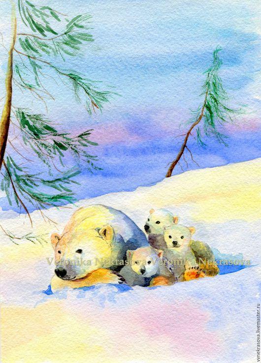 Животные ручной работы. Ярмарка Мастеров - ручная работа. Купить Белые медведи и ели № 1. Принт. Картина в детскую.. Handmade.