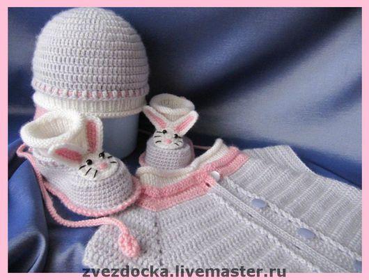 """Для новорожденных, ручной работы. Ярмарка Мастеров - ручная работа. Купить комплект - тройка """"Милый зайка"""". Handmade. Комплект для девочки"""