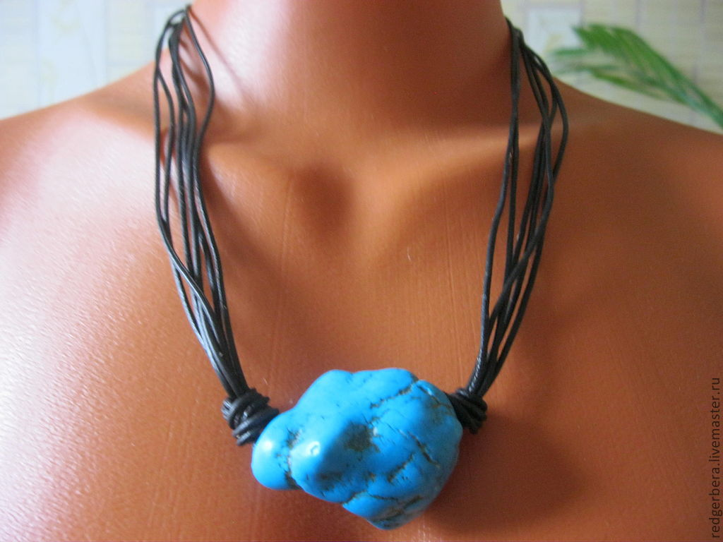 Turquoise nugget natural leather, Pendants, Kostroma, Фото №1