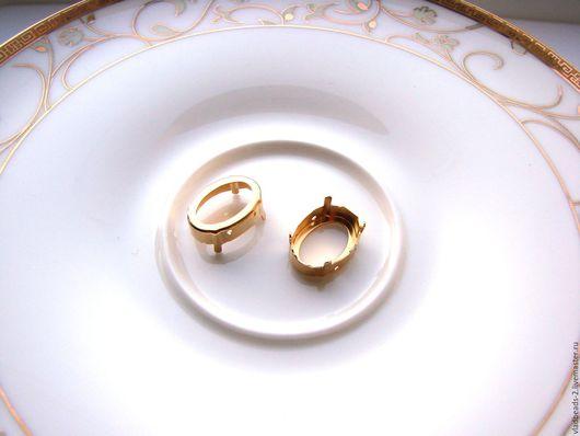 Для украшений ручной работы. Ярмарка Мастеров - ручная работа. Купить Оправа для Oval Swarovski 14x10 мм под золото. Handmade.