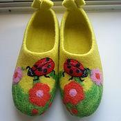 Тапочки ручной работы. Ярмарка Мастеров - ручная работа валяные тапочки Лето это маленькая жизнь. Handmade.