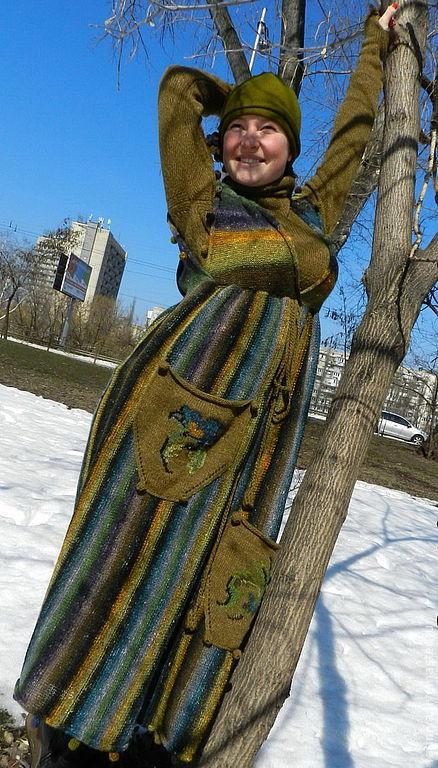 Платья ручной работы. Ярмарка Мастеров - ручная работа. Купить Сарафан Норо(комплект). Handmade. В полоску, зеленый