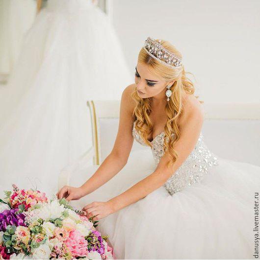 """Диадемы, обручи ручной работы. Ярмарка Мастеров - ручная работа. Купить Свадебная корона """"Crystal""""2. Handmade. Корона, корона для венчания"""