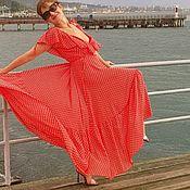 Одежда handmade. Livemaster - original item Red dress in white %#%1. Handmade.