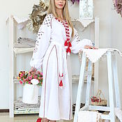 Одежда handmade. Livemaster - original item Long white dress with wedges. Handmade.