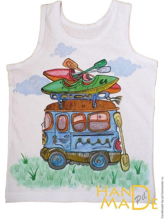 """Одежда для мальчиков, ручной работы. Ярмарка Мастеров - ручная работа. Купить Детская футболка """" Путешественник"""". Handmade. Белый"""