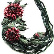 Украшения handmade. Livemaster - original item Necklace from leather with chrysanthemums September noon. Handmade.