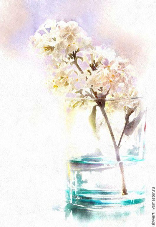 Картины цветов ручной работы. Ярмарка Мастеров - ручная работа. Купить Картины цветов. Акварель -Сиренька-. Handmade. Разноцветный, акрил
