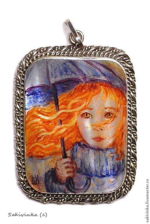 """Кулоны, подвески ручной работы. Ярмарка Мастеров - ручная работа. Купить """"Девочка-Осень"""" - перламутровый кулон. Handmade. Рыжий, портрет"""