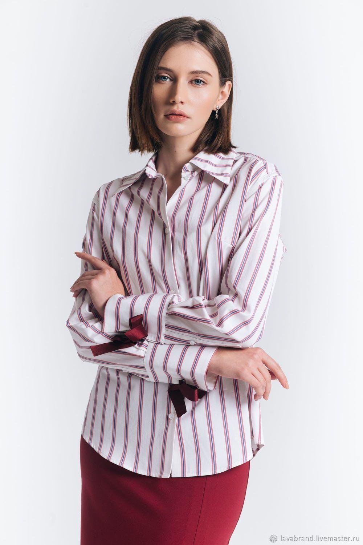 Рубашка бордовая полоска, Блузки, Москва, Фото №1