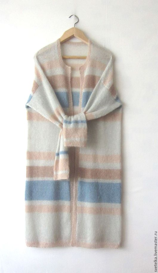 Кофты и свитера ручной работы. Ярмарка Мастеров - ручная работа. Купить Кардиган-пальто из кид-мохера. Handmade. Серый, полоски