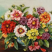 Картины и панно handmade. Livemaster - original item Picture ribbons Bouquet with dahlias. Handmade.