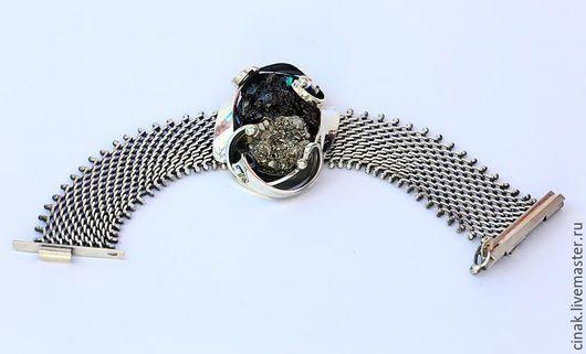 Браслеты ручной работы. Ярмарка Мастеров - ручная работа. Купить браслет из серебра с пиритом  - кусок с горы. Handmade. Серебряный