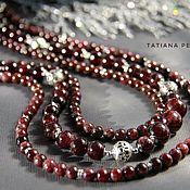Украшения handmade. Livemaster - original item Necklace garnet, Bali silver, cubic Zirconia
