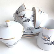 Чайный сервиз на 3 персоны FREIBERG Винтаж ГДР Фарфор