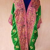 Одежда ручной работы. Ярмарка Мастеров - ручная работа Шелковый халат с ручной вышивкой Этнические мотивы. Handmade.