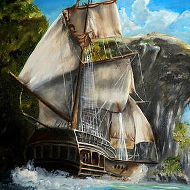 Картины и панно ручной работы. Ярмарка Мастеров - ручная работа Картина маслом Корабль. Handmade.