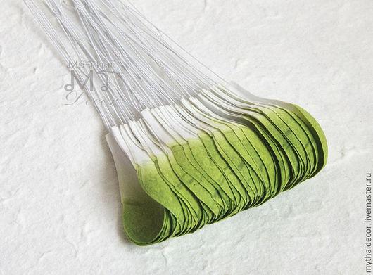 Лепестки бело-зеленые закругленные большие My Thai Материалы для флористики из Таиланда