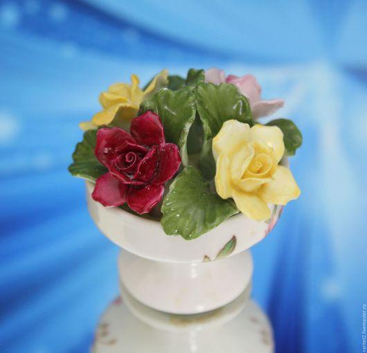 Винтажные предметы интерьера. Ярмарка Мастеров - ручная работа. Купить Ваза с цветами цветы роза фарфор Англия клеймо 17. Handmade.