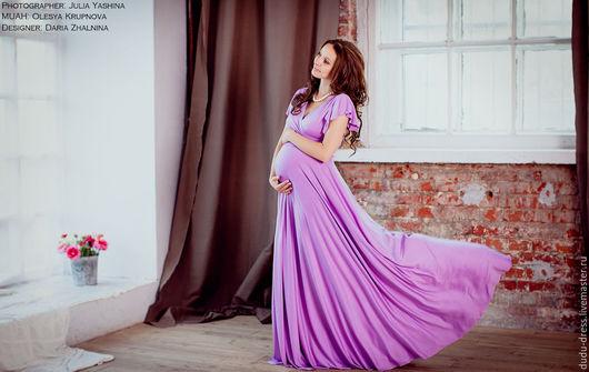 Платья ручной работы. Ярмарка Мастеров - ручная работа. Купить Платье нежная сирень для беременных. Handmade. Сиреневый, платье для беременных