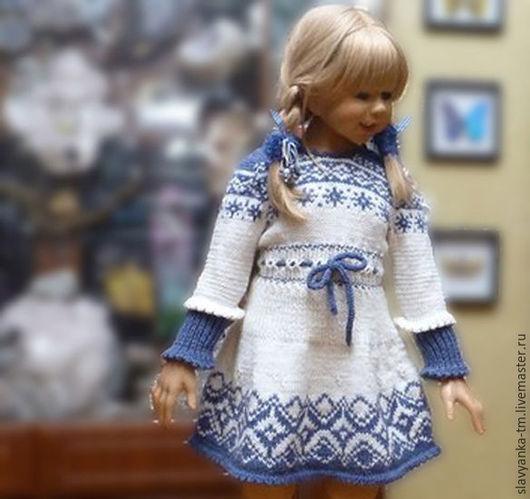 Одежда для девочек, ручной работы. Ярмарка Мастеров - ручная работа. Купить Вязаное, теплое платье, детское. Handmade. Разноцветный