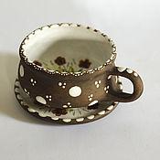 Посуда ручной работы. Ярмарка Мастеров - ручная работа Керамика.Чайная пара керамическая (майолика). Handmade.