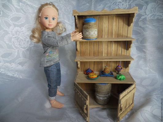 Кукольный дом ручной работы. Ярмарка Мастеров - ручная работа. Купить Буфет интерьерный кукольный. Handmade. Коралловый, воск для дерева