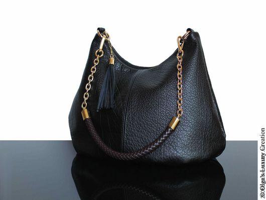 Женские сумки ручной работы. Ярмарка Мастеров - ручная работа. Купить Сумка кожаная, хобо, черная сумка, сумка на осень, сумка из кожи. Handmade.