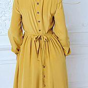 Одежда handmade. Livemaster - original item Mustard silk dress. Handmade.