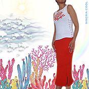 Одежда handmade. Livemaster - original item Women`s Coral reef suit, summer, beach, hand embroidery, cotton. Handmade.