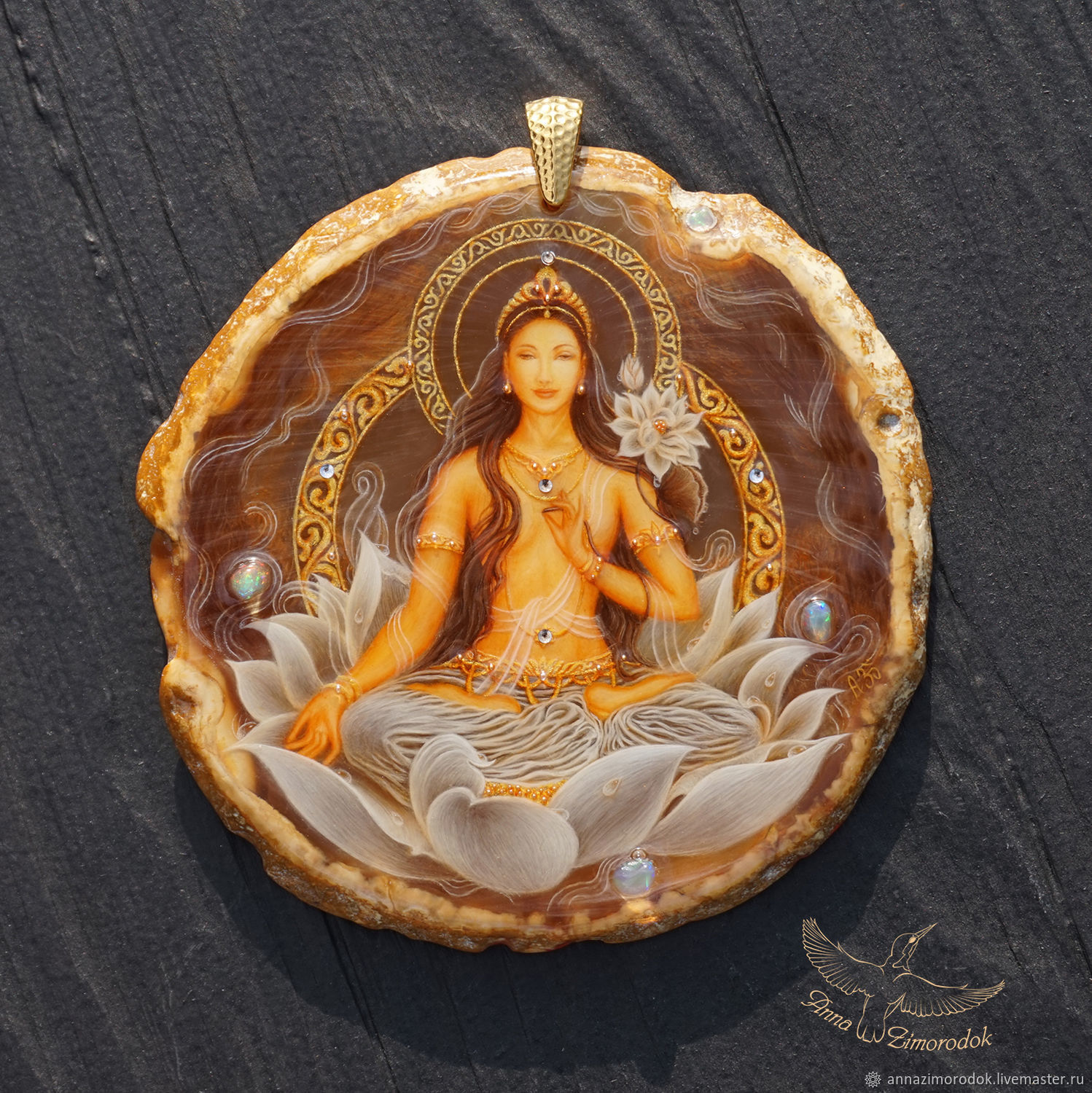 Pendant painted stone Goddess White Tara lacquer miniature necklace, Pendants, Moscow,  Фото №1