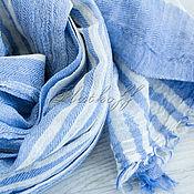 Аксессуары handmade. Livemaster - original item Scarves: Blue linen scarf unisex striped