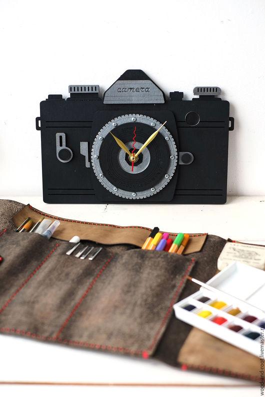 Часы для дома ручной работы. Ярмарка Мастеров - ручная работа. Купить Часы Фотоаппарат. Handmade. Черный, интерьер, камера, дерево