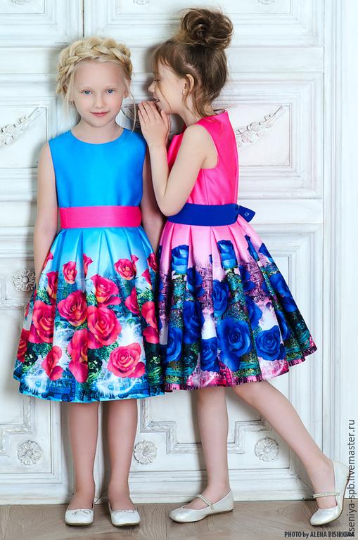 """Одежда для девочек, ручной работы. Ярмарка Мастеров - ручная работа. Купить Нарядное платье для девочки, яркие розы -  """"Фантазия"""". Handmade."""