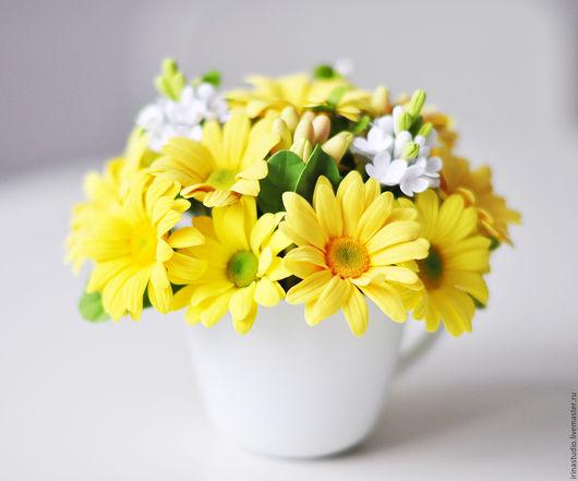 """Цветы ручной работы. Ярмарка Мастеров - ручная работа. Купить Цветочная композиция """"Желтые хризантемы"""". Handmade. Желтый, хризантемы"""