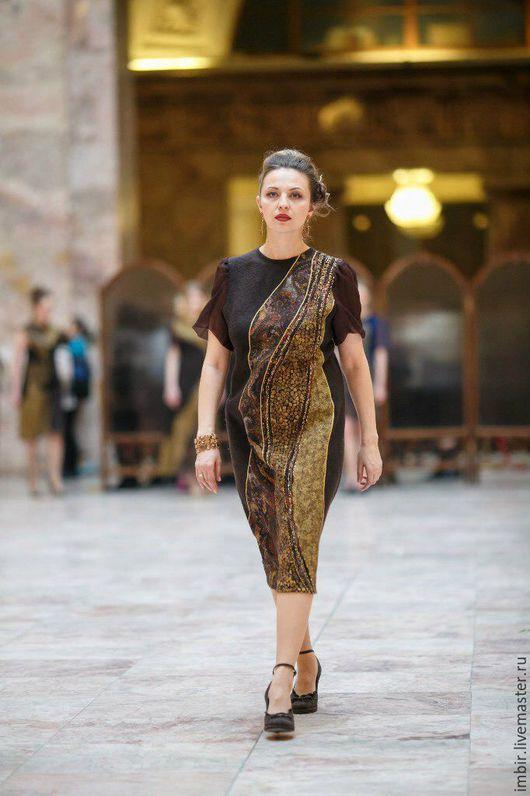 Платья ручной работы. Ярмарка Мастеров - ручная работа. Купить Платье Артефакт 6. Handmade. Коричневый, нуновойлок, платье, бисер