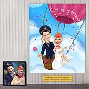 Свадебный салон handmade. Livemaster - original item A wedding gift to the newlyweds. Pilot and flight attendant. Wedding cartoon. Handmade.