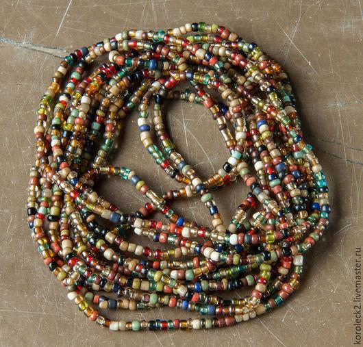 Для украшений ручной работы. Ярмарка Мастеров - ручная работа. Купить Коричневый микс из мелких разноцветных стеклянных бусин, Индонезия. Handmade.
