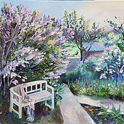 handmade. Livemaster - original item Evening lilac. Oil painting 45h60. Handmade.