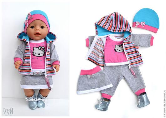 """Одежда для кукол ручной работы. Ярмарка Мастеров - ручная работа. Купить Комплект """"Китти"""" для куклы Беби Бон (Baby Born). Handmade."""